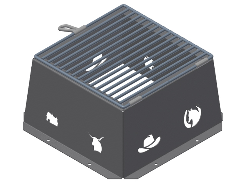 Campground fire box with BBQ grill